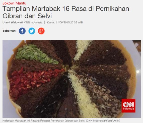 Martabak 16 rasa, hidangan pernikahan anak Presiden Jokowi - Gibran & Selvi (diambil dari CNN Indonesia)